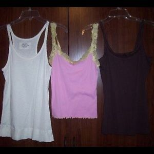 Tops - Lot of 3 Sleeveless Tank Tops, White/Pink/Brown